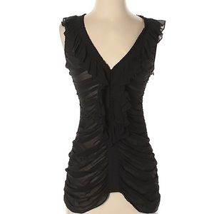 Temperly London Sleeveless Ruched Black Top